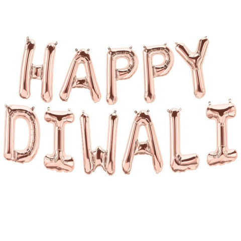 happy diwali rose gold letter balloons for sale online in Dubai