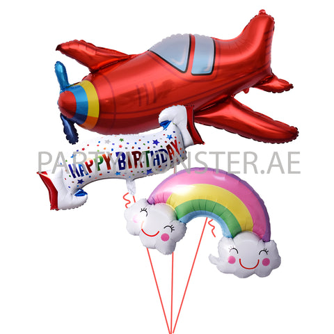 Happy Birthday Air Plane Themed Balloons Bouquet delivery in Dubai