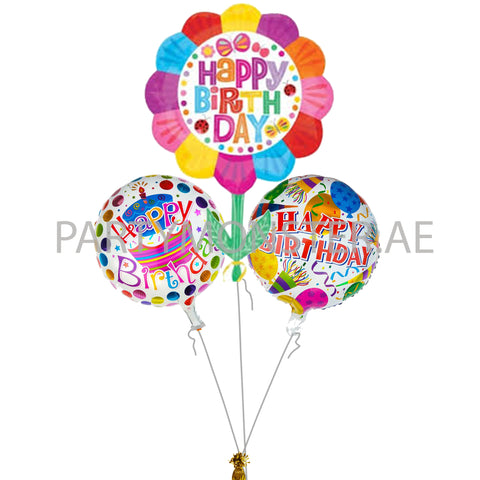 Happy birthday floral balloons bouquet - PartyMonster.ae