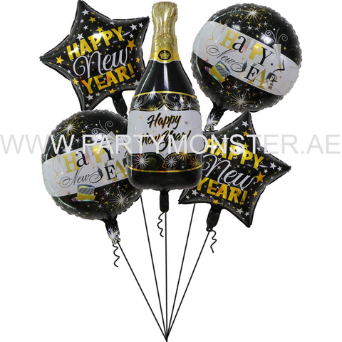 Happy New Year foil balloons bouquet