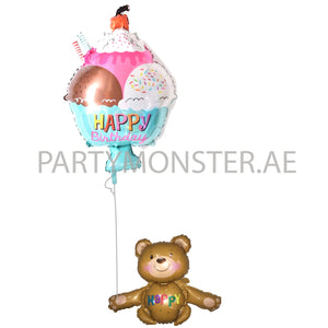 Happy teddy foil balloons bouquet - PartyMonster.ae