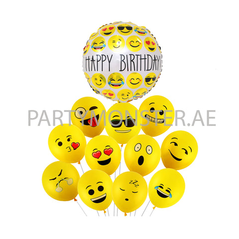 Emoji foil and latex balloons bouquet - PartyMonster.ae