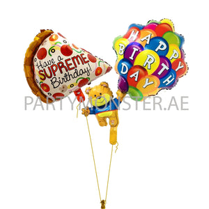 Pizza lover birthday balloons bouquet - PartyMonster.ae