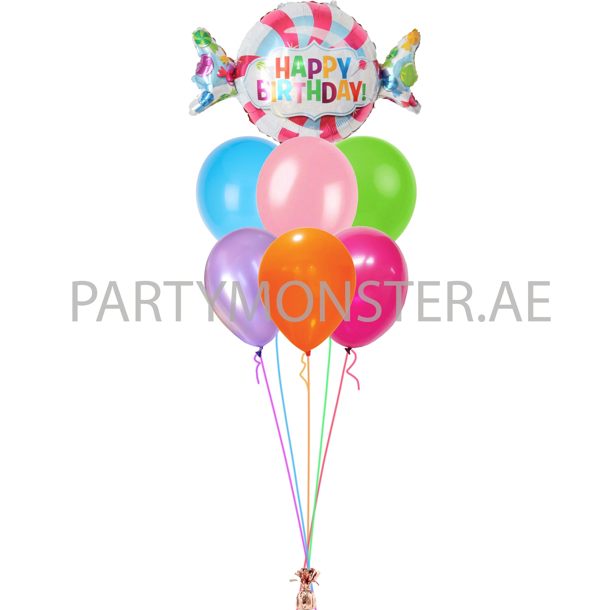 Happy birthday candy balloons bouquet - PartyMonster.ae