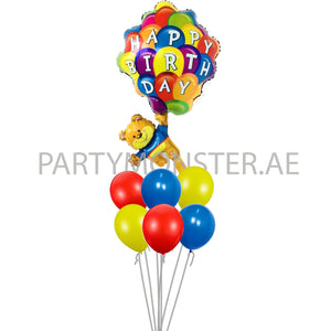 Happy birthday teddy foil & latex balloons bouquet - PartyMonster.ae