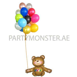 Happy teddy foil & latex balloons bouquet - PartyMonster.ae