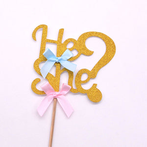 He or She cake topper or cupcake topper for baby shower, gender reveal parties - PartyMonster.ae