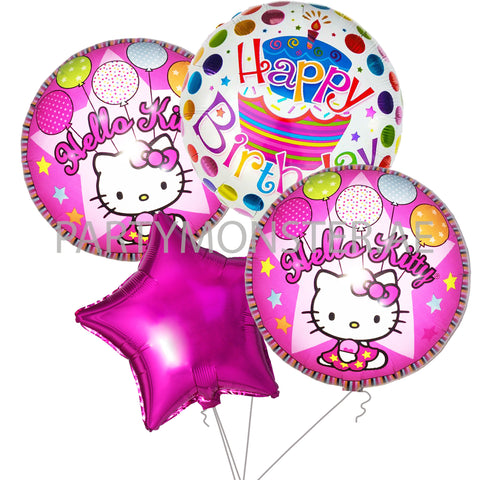 Hello Kitty birthday foil balloons bouquet - PartyMonster.ae