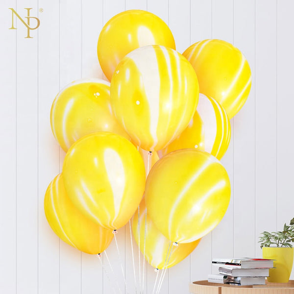 yellow marble latex balloons bunch for sale online in Dubai