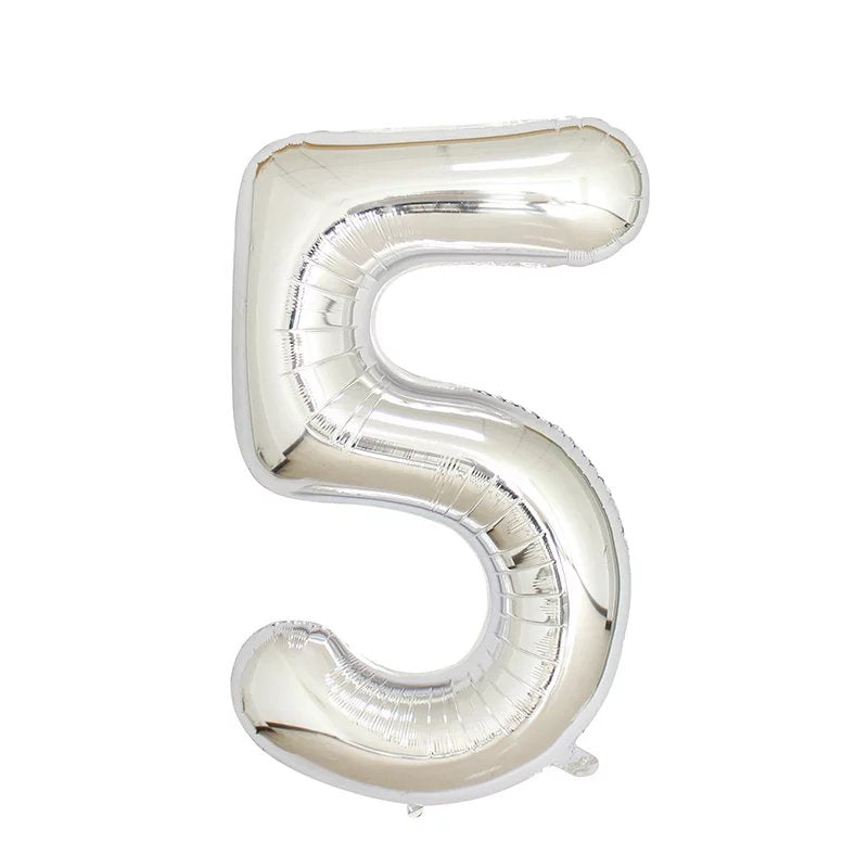 Number 5 Silver Foil Balloon 40