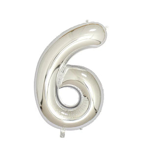 "Number 6 Silver Foil Balloon 40"" - PartyMonster.ae"