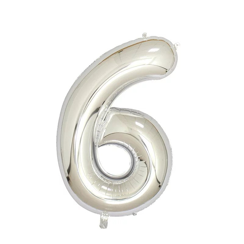 Number 6 Silver Foil Balloon 40