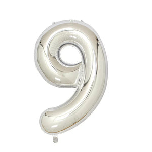 "Number 9 Silver Foil Balloon 40"" - PartyMonster.ae"