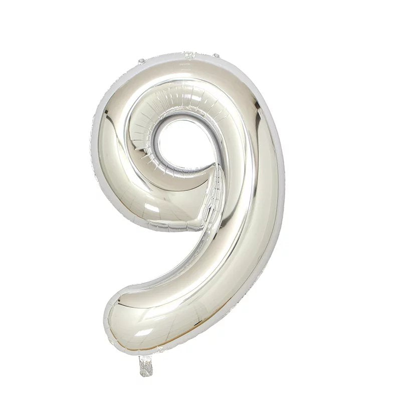 Number 9 Silver Foil Balloon 40