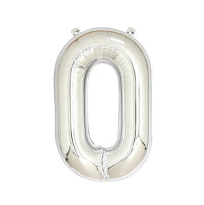 "Number 0 Silver Foil Balloon 40"" - PartyMonster.ae"