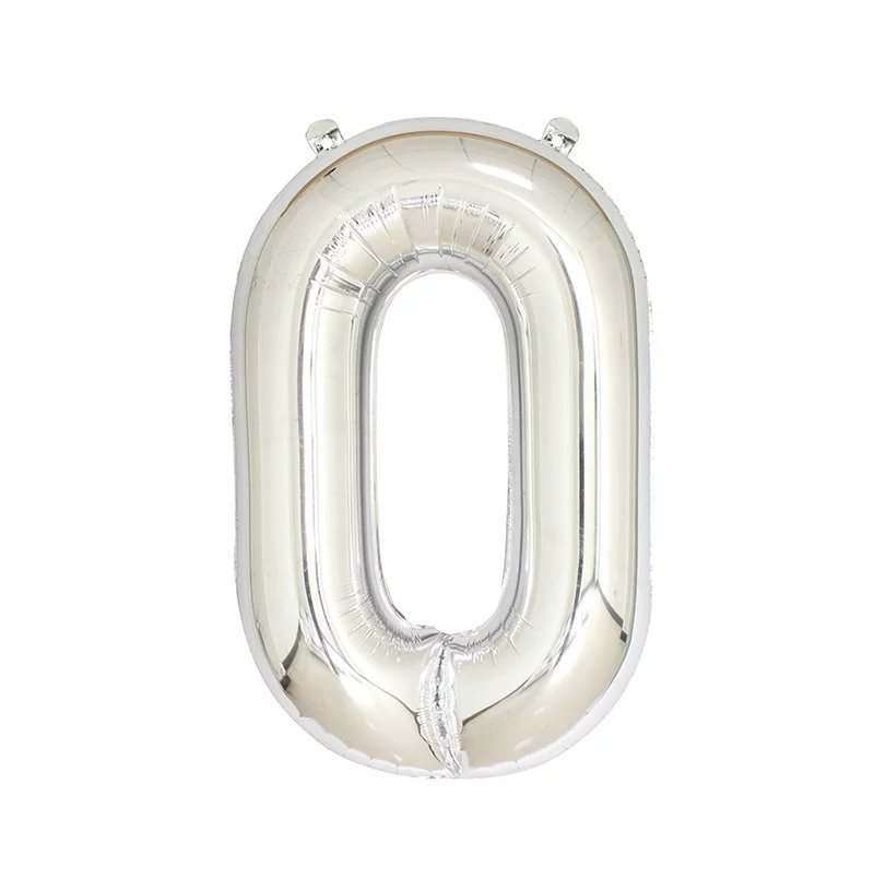 Number 0 Silver Foil Balloon 40