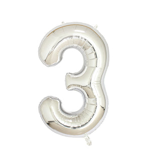 "Number 3 Silver Balloon 40"" - PartyMonster.ae"
