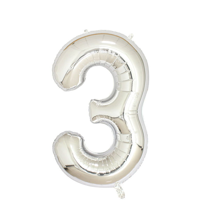 Number 3 Silver Balloon 40