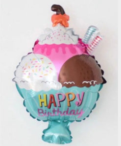 Happy Birthday 3 Scoop Ice Cream Foil Balloon - 31in - PartyMonster.ae