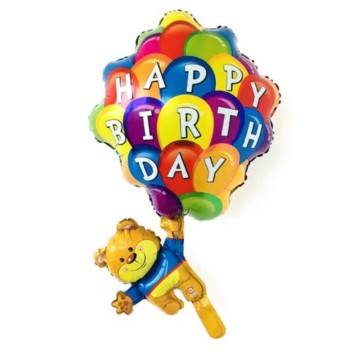 Happy Birthday Teddy with Balloon Bunch Foil Balloon - 18in - PartyMonster.ae