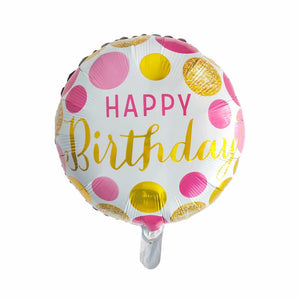 pink and golden polka dots birthday balloon