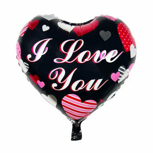 I Love You Black Heart Balloon - 18in - PartyMonster.ae