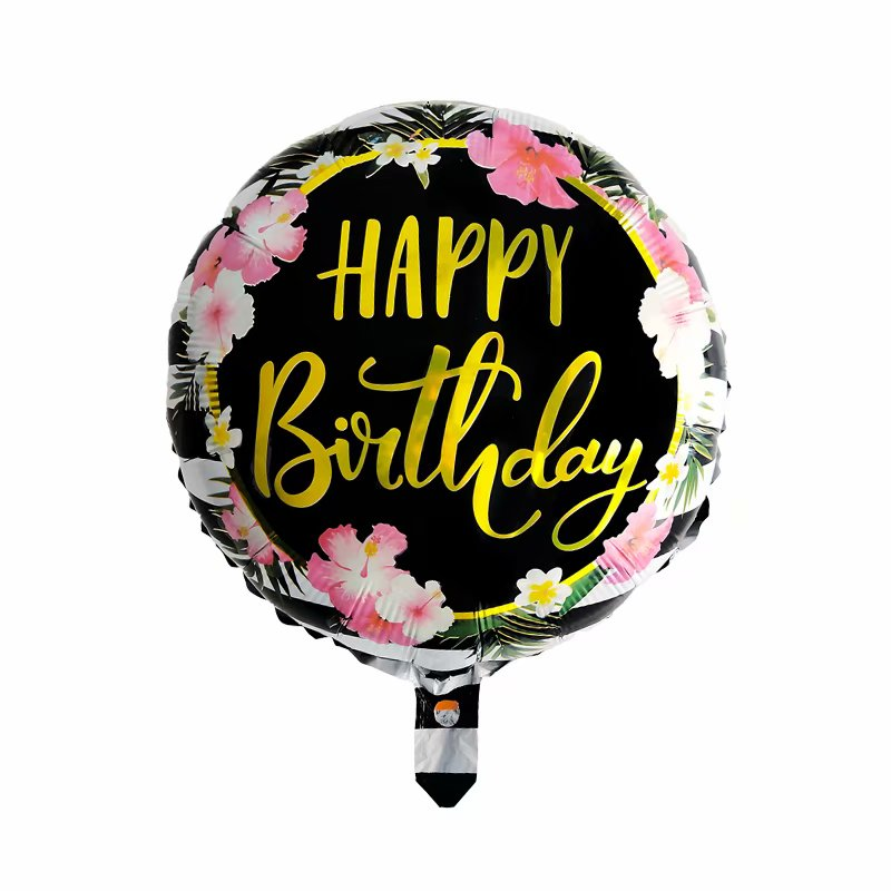 black & gold birthday balloon