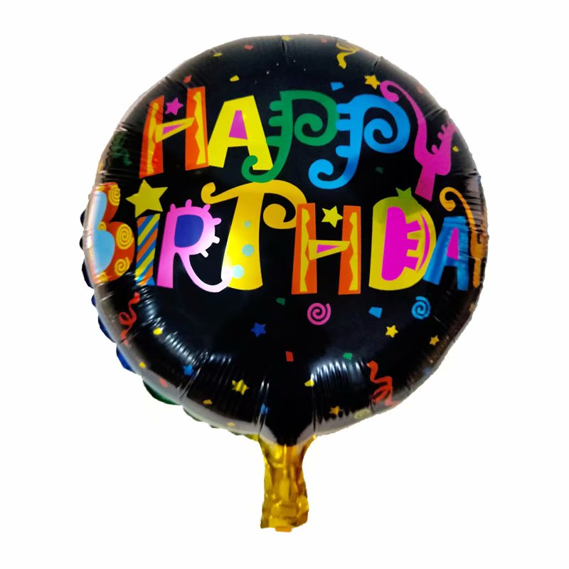 Happy Birthday Black Foil Balloon - 18in - PartyMonster.ae