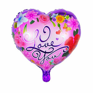Purple Flowers I Love You Balloon - 18in - PartyMonster.ae