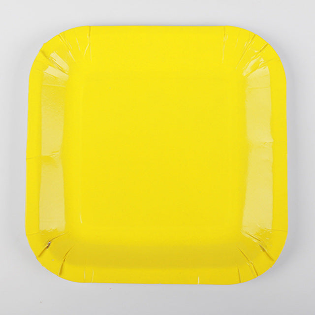 Yellow Paper Plates - 10pcs - PartyMonster.ae