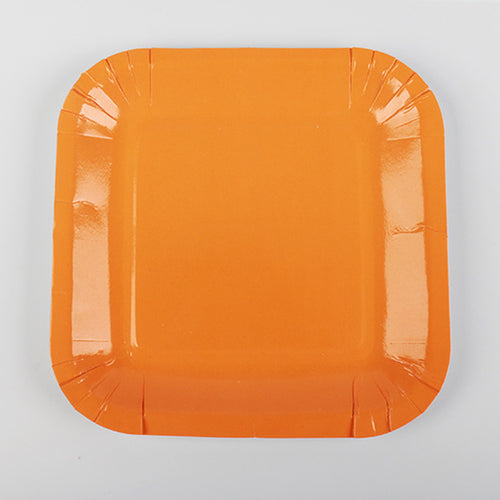 Orange Paper Plates - 10pcs - PartyMonster.ae