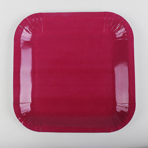 Maroon Paper Plates - 10pcs - PartyMonster.ae