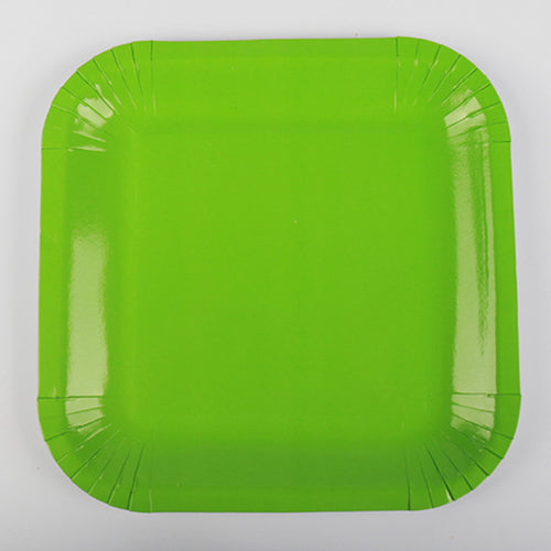 Green Paper Plates - 10pcs - PartyMonster.ae