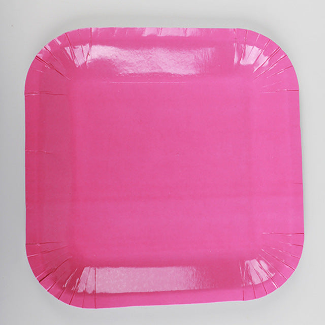 Pink Paper Plates - 10pcs - PartyMonster.ae
