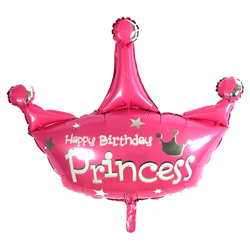 Happy Birthday Princess Pink Crown Foil Balloon - 36in - PartyMonster.ae