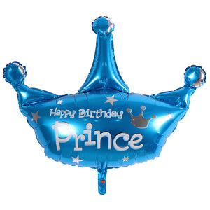 Happy Birthday Prince Blue Crown Foil Balloon - 36in - PartyMonster.ae