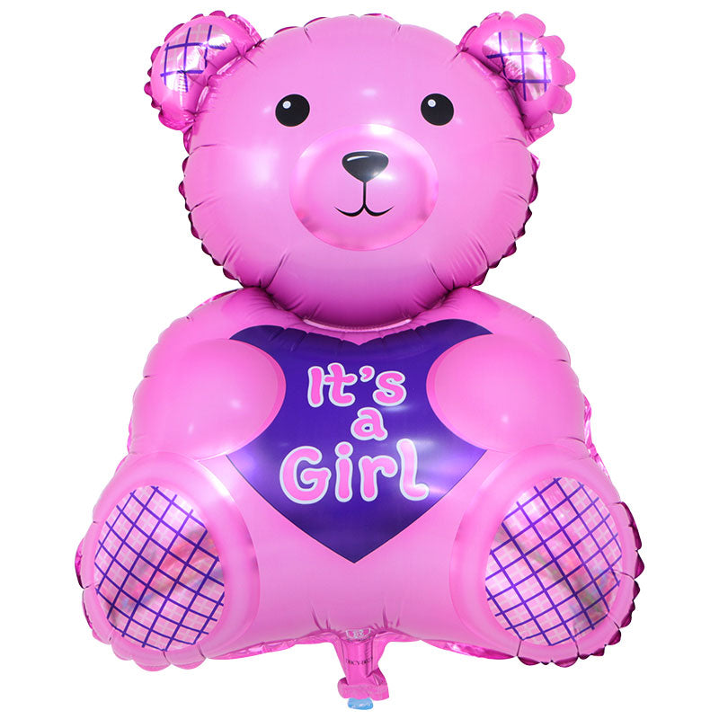 It's A Girl Pink Bear - 28in - PartyMonster.ae