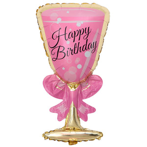 happy birthday champagne pink balloon