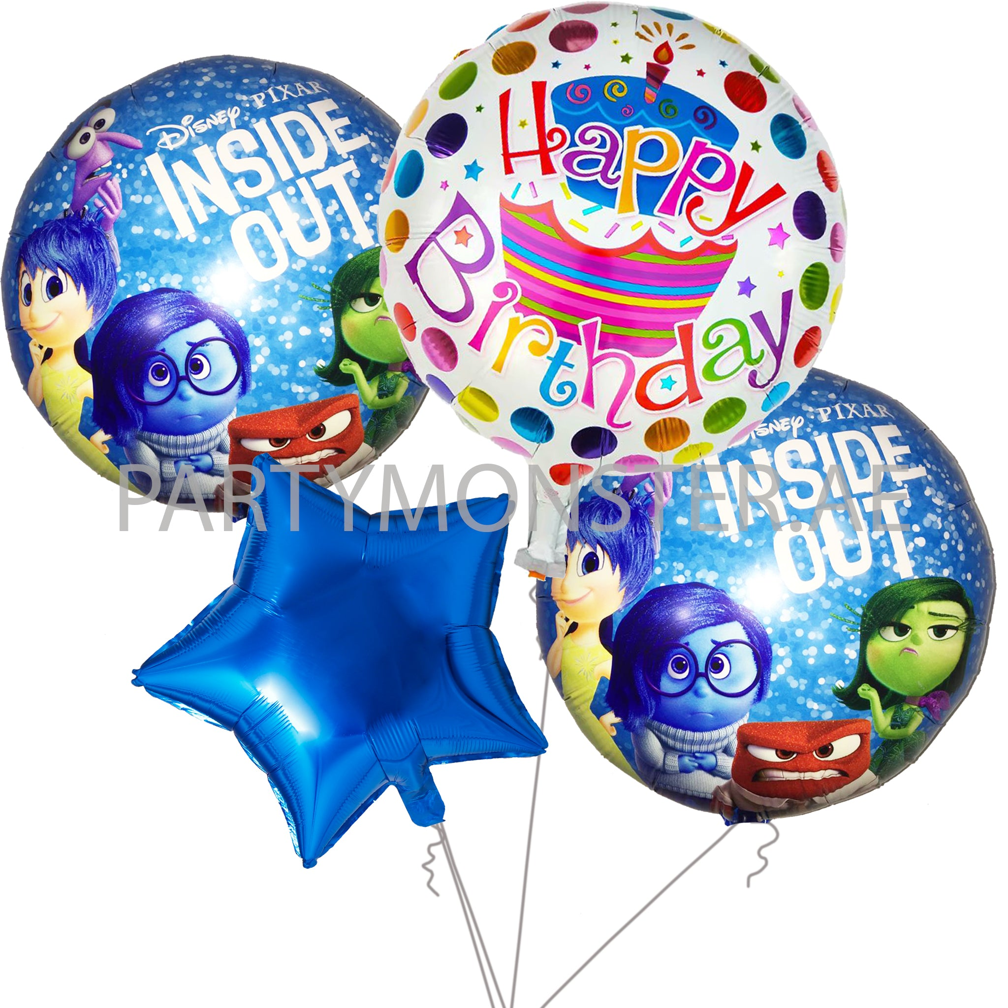 Inside Out themed birthday balloons bouquet - PartyMonster.ae