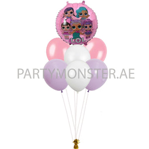 LOL Doll foil and latex balloons bouquet - PartyMonster.ae