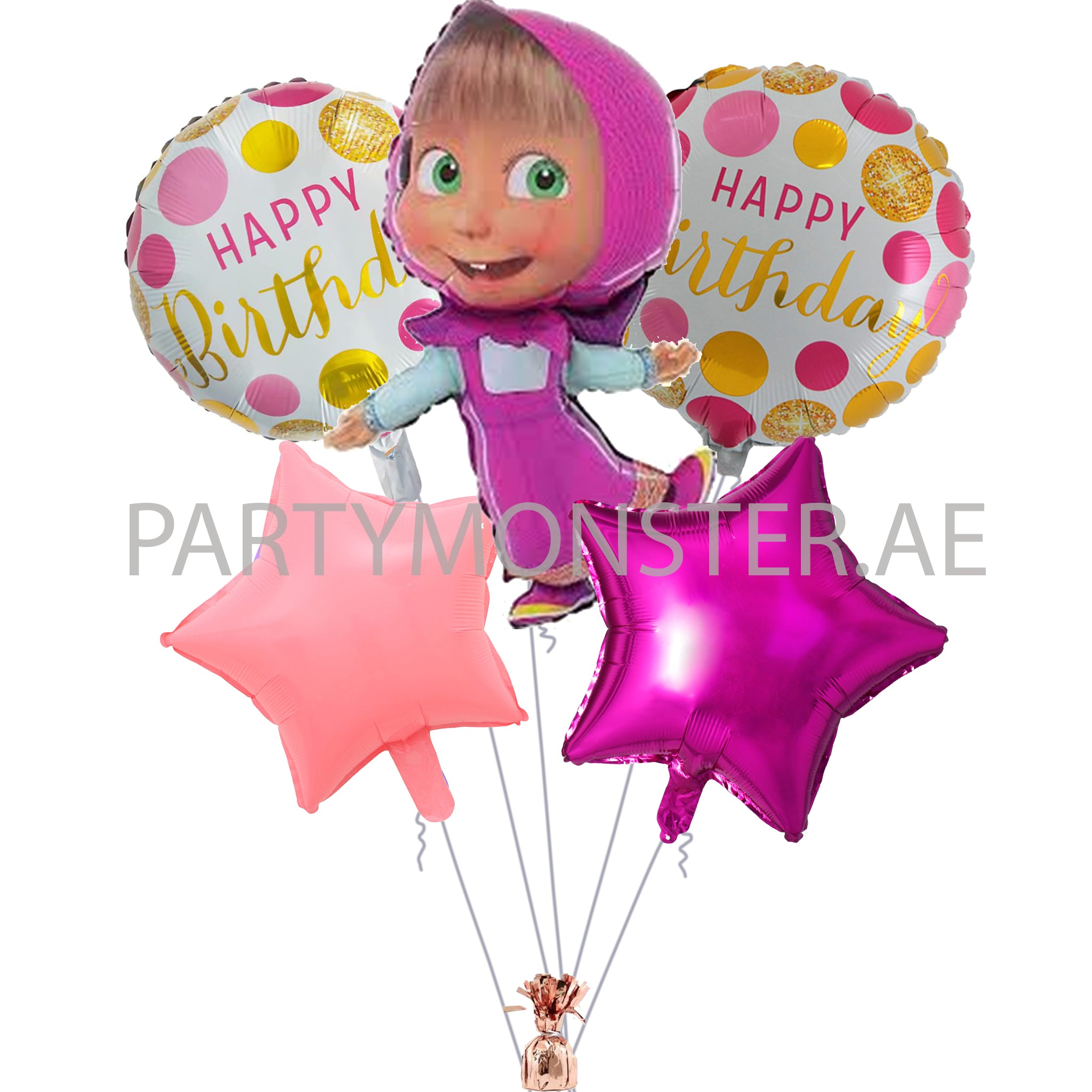 Masha and the Bear birthday balloons bouquet - PartyMonster.ae