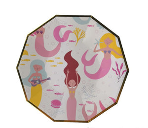 Mermaid Hexagonal paper plates for sale in Dubai
