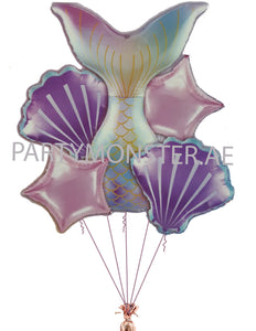 Mermaid themed balloons bouquet for sale online in Dubai