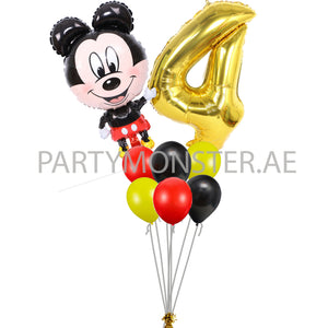 Mickey Mouse any number birthday balloon bouquet - PartyMonster.ae