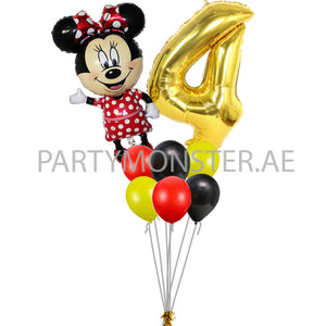 Minnie Mouse any number birthday balloon bouquet - PartyMonster.ae