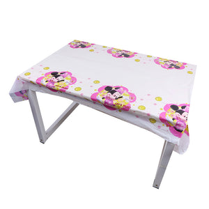 Minnie Mouse themed plastic disposable table cover