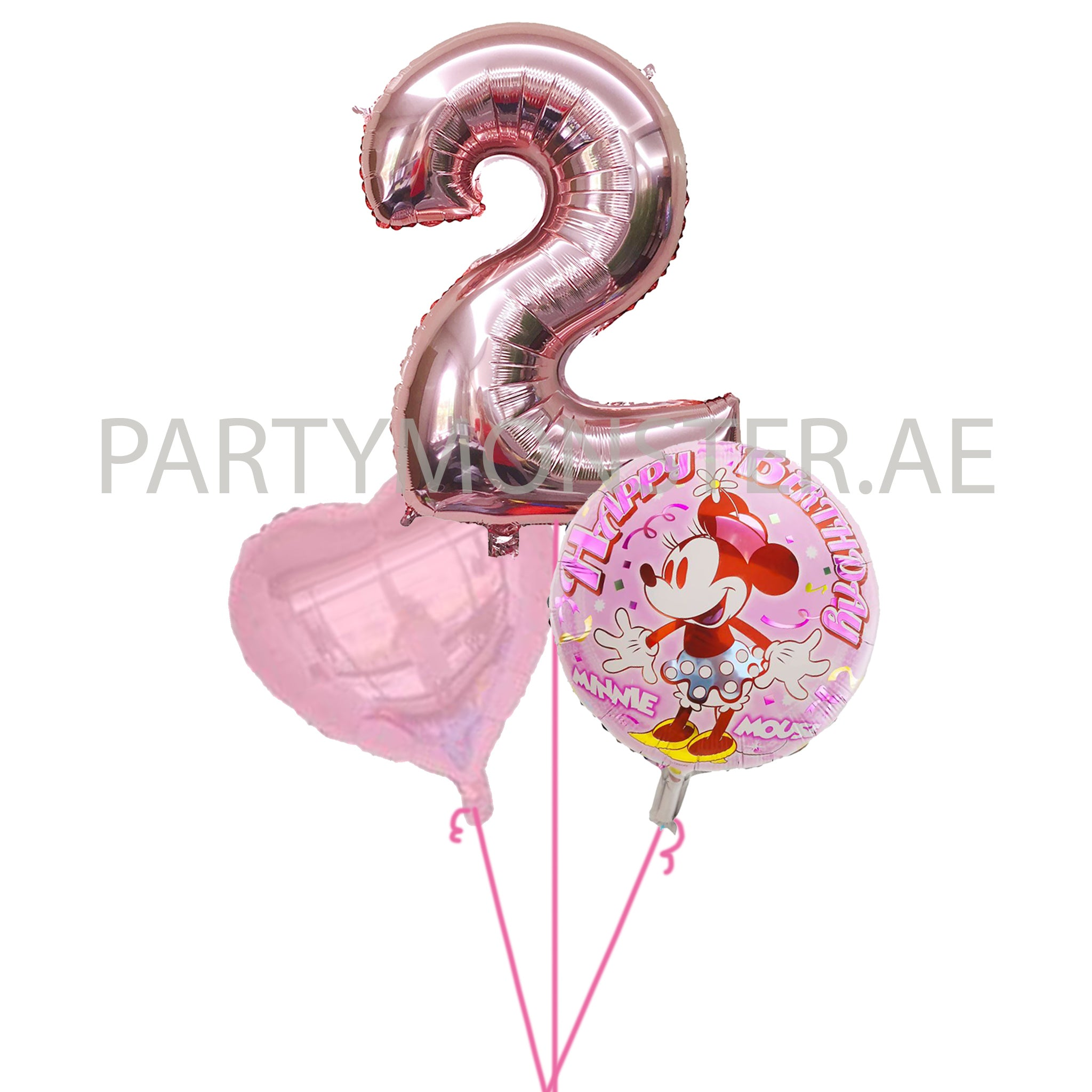 Minnie Mouse with any number birthday balloon bouquet - PartyMonster.ae