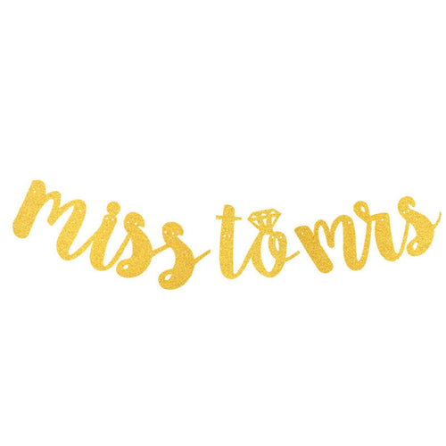 Miss to Mrs in gold bridal shower banner - PartyMonster.ae