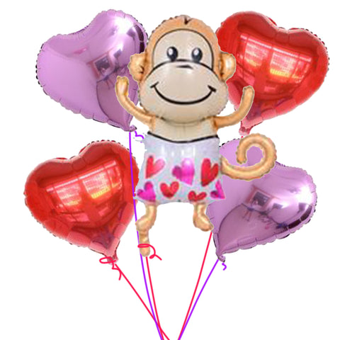 Love monkey balloons bouquet - PartyMonster.ae