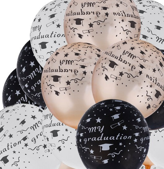 My graduation 12inches white, rosegold and black latex balloons - PartyMonster.ae